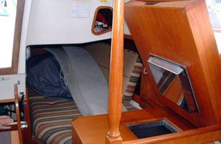 Freezer chart table ~ Sensation ~ Bareboat Yacht Charters, Bay of Islands, New Zealand, NZ